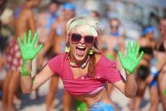 Manos de los colores fotos de archivo libres de regalías