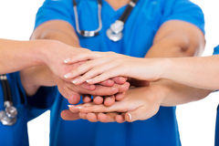 Manos de los médicos junto Fotografía de archivo libre de regalías