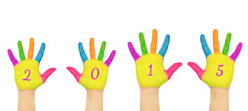 Manos de los niños que forman el número 2015 Imagen de archivo