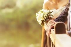 Manos de novia y del novio con los anillos de bodas (foco suave), filtro Imagen de archivo