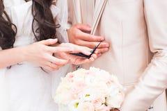 Manos de novia y del novio que sostienen una pequeña mariposa al aire libre Imagen de archivo