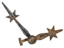 Manos de reloj medievales aisladas en blanco Foto de archivo