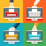 Manos de votación en línea ilustración del vector