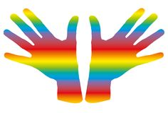Manos del arco iris Fotos de archivo