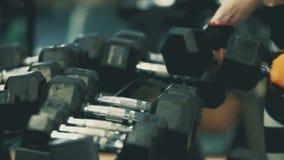Manos del atleta de sexo femenino Taking Heavy Dumbbells El conseguir listo para el entrenamiento almacen de video