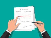 Manos del autor con la pluma que trabaja en el documento Ilustración del Vector
