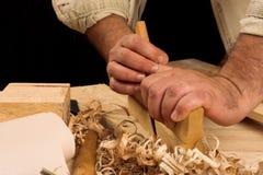 Manos del carpintero Imagenes de archivo