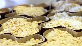 Manos del chef de repostería que asperjan el polvo del azúcar en la pasta para las palomas de la torta de Pascua metrajes