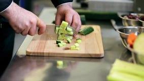 Manos del cocinero de sexo masculino que tajan el pepino en cocina almacen de video