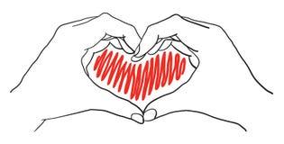 Manos del corazón ilustración del vector