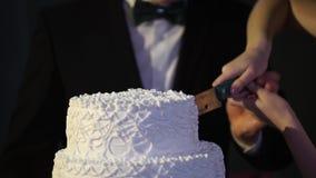 Manos del corte de novia y del novio de una rebanada de una torta de boda Novia y novio en la recepción nupcial que corta el past almacen de metraje de vídeo
