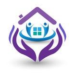 Manos del cuidado de la familia y logotipo casero stock de ilustración