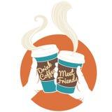 Manos del ejemplo del vector que sostienen las tazas de café disponibles Cardbo Fotos de archivo libres de regalías