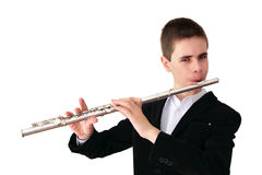 Manos del flautista imagenes de archivo