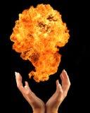 Manos del fuego Foto de archivo libre de regalías