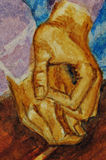Manos del hombre. Acuarela. Imagen de archivo libre de regalías
