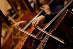 Manos del hombre que toca el violoncelo Foto de archivo libre de regalías