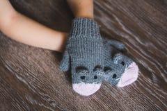 Manos del niño en manoplas del ratón del invierno Fotos de archivo libres de regalías