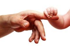Manos del padre y del bebé Imágenes de archivo libres de regalías