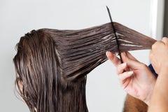 Manos del pelo de Combing Client del peluquero Fotos de archivo libres de regalías