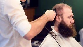 Manos del peluquero que cortan el pelo en la cabeza del cliente barbudo, movi?ndose hacia arriba y hacia abajo Proceso del corte  almacen de video