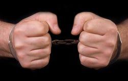 Manos del preso Foto de archivo libre de regalías