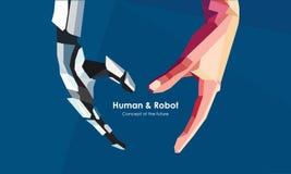 Manos del ser humano y del robot Foto de archivo libre de regalías