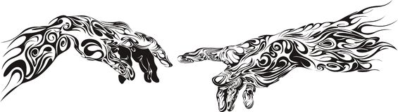 Manos del tatuaje Imagen de archivo libre de regalías