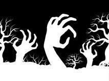 Manos del zombi del horror y vector blancos de las siluetas del árbol stock de ilustración
