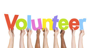 Manos diversas que detienen al voluntario de la palabra Fotografía de archivo libre de regalías