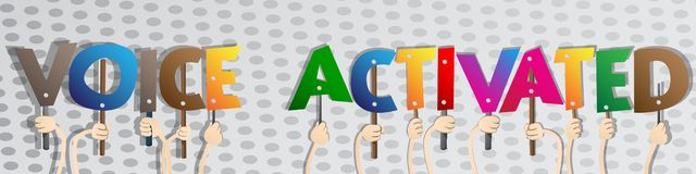 Manos diversas que llevan a cabo las palabras activadas por voz Ilustración del vector ilustración del vector