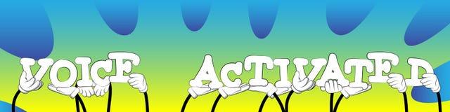 Manos diversas que llevan a cabo las palabras activadas por voz Ilustración del vector stock de ilustración