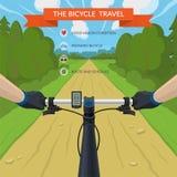 Manos en el manillar de una bicicleta ilustración del vector