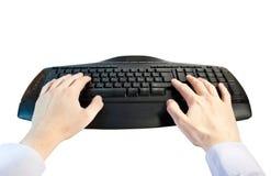 Manos en el teclado Imágenes de archivo libres de regalías