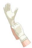 Manos en guantes estéril. Imagen de archivo