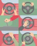 Manos en la máquina de la rueda ilustración del vector