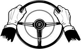 Manos en la rueda stock de ilustración