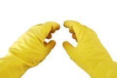 Manos en los guantes de goma Fotos de archivo libres de regalías