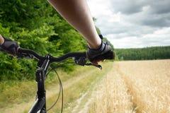 Manos en los guantes que sostienen el manillar de una bicicleta Ciclista de la bici de montaña que monta la sola pista Active san Imagen de archivo