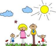 Manos felices de la explotación agrícola de la familia y vector sonriente ilustración del vector
