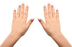 Manos femeninas con cierre de la manicura para arriba Imagen de archivo