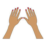 Manos femeninas con los clavos rojos Imagenes de archivo