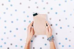 Manos femeninas hermosas que sostienen una bolsa de papel con un regalo Imagen de archivo