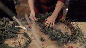 Manos femeninas que arreglan las ramas del pino para la guirnalda de la Navidad