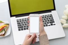 Manos femeninas que sostienen el teléfono con la pantalla aislada en backgr del ordenador portátil Imágenes de archivo libres de regalías