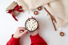 Manos femeninas que sostienen la taza de chocolate caliente con la melcocha Bebida de la Navidad, galletas sabrosas, caja de rega fotografía de archivo
