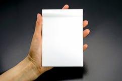 Manos femeninas que sostienen un cuaderno blanco en blanco Imagenes de archivo