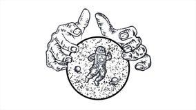 Manos gigantes que sostienen una esfera con las estrellas, los planetas y el astronauta en el fondo blanco animaci?n abstracci?n  ilustración del vector