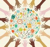 Manos globales del ser humano de los iconos de la educación.