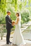 Manos hermosas del control del novio y de la novia Imagenes de archivo